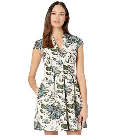 Vince Camuto Jacquard Fit-and-Flare Dress w/ Cap Sleeve (Ivory Multi) Women