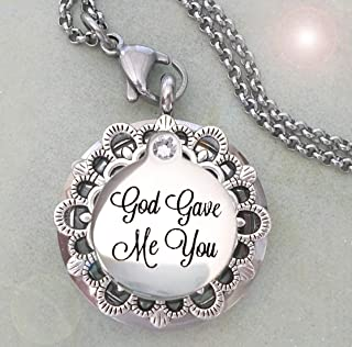 God Gave Me You Locket Necklace, Stepdaughter, Daughter Gift, Elegant Friendship Birthday Gift, Holds Photo or Special Keepsake, Beautifully Gift Packaged
