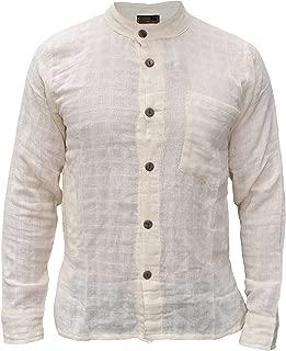 Gheri Mens Cotton Check Textured Button Down Grandad Collar Shirt
