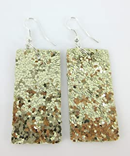 Gold Glitter Faux Leather Large Rectangle Dangle Earrings