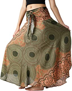 Bangkokpants Women's Long Hippie Bohemian Skirt Gypsy Dress Boho Clothes Flowers One Size Fits Asymmetric Hem Design