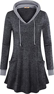 MCKOL Women Long Sleeve Pullover Causal Thin Hoodies Tunic Shirts with Pockets