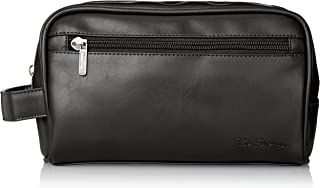 Ben Sherman Luggage Noak Hill Collection Vegan Leather Toiletry Travel Kit, Shiny Black, Single Compartment