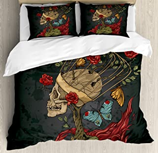 Ambesonne Skull Duvet Cover Set, Evil Mexican Sugar Skeleton with Bush of Roses Snake and Butterfly Artwork, Decorative 3 Piece Bedding Set with 2 Pillow Shams, Queen Size, Ruby Grey