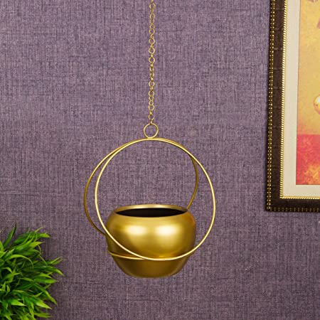 TIED RIBBONS Wall Ceiling Hanging Metal Planter for Plants Indoor Living Room Balcony Patio Garden Home Decoration (Metal)