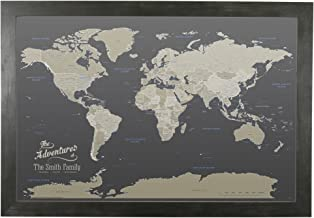Push Pin Travel Maps Canvas - Personalized Earth Toned World with Rustic Black Frame