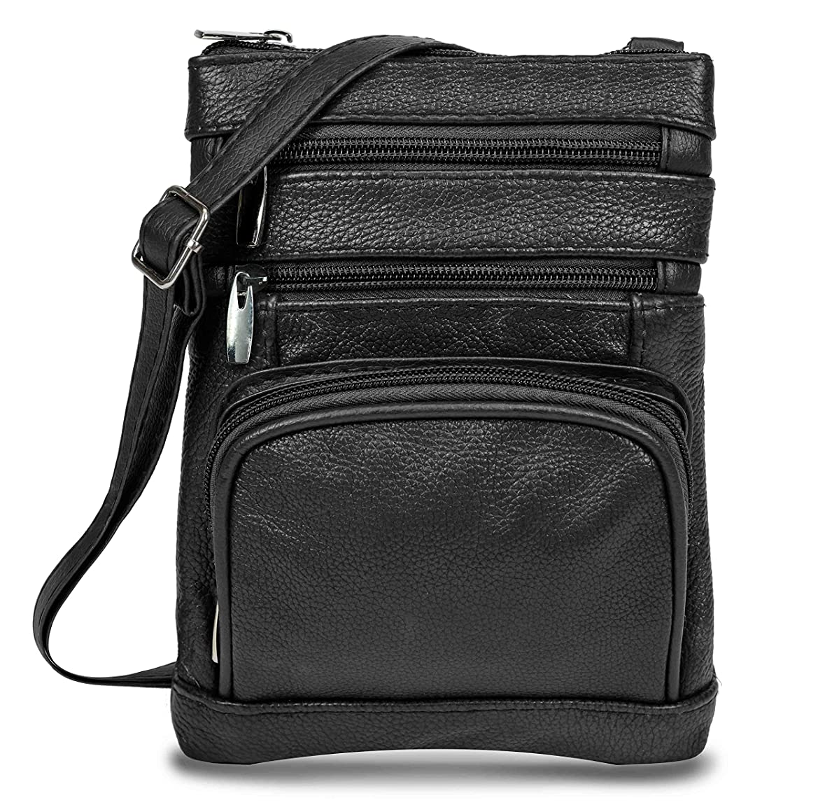 Maze Exclusive Women's Handbag Genuine Cross Body Purse Bag, Multi-Pocket, Black Crossbody Bags for Women, Small/Medium Crossover Purses and Messenger Handbags- (Black)