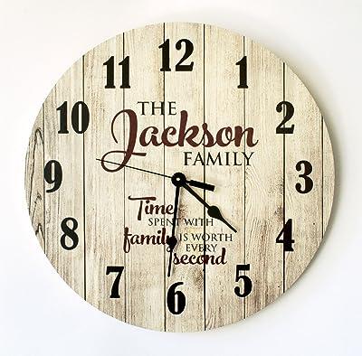 Personalized Rustic Wood Print Clock 18