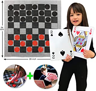 Elite Sportz Jumbo Playing Cards and Giant Checkers Combo - Giant Indoor Outdoor Yard Games Including a Giant Checkers Rug for Kids, Tic Tac Toe and Large Cards - Durable Zipup Carry Bag for Storage