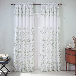 RT Designers Collection Sterling Embroidered Rod Pocket Single Curtain Panel w/Attached 18