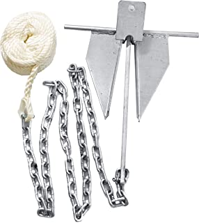 WindRider 8.5lb Boat Anchor Kit | Fluke Style | 6ft Galvanized Chain | 75ft 3/8in Line Spliced with Shackles | 15-24ft Boats