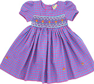 Toddlers & Girls Lilian Beautiful Rich Lavender Gingham Hand Smocked & Embroidered Dress (12M- 4T)