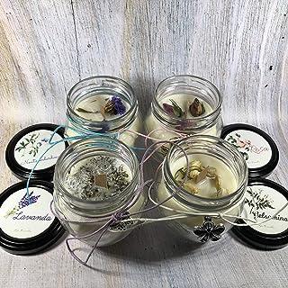 4 candele in piccoli orci da 106 ml ai profumi di rosa, gelsomino, lavanda e nontiscordardimé, in cera di soia con stoppin...