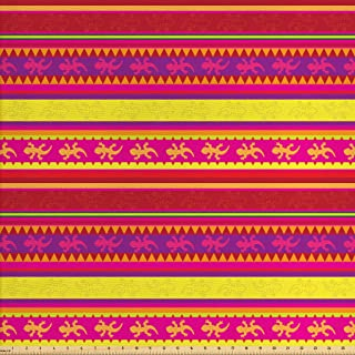 Ambesonne Mexican Fabric by The Yard, Vibrant Colored Striped Pattern with Abstract Lizard Animal Folk Borders, Decorative Fabric for Upholstery and Home Accents, 1 Yard, Red Purple