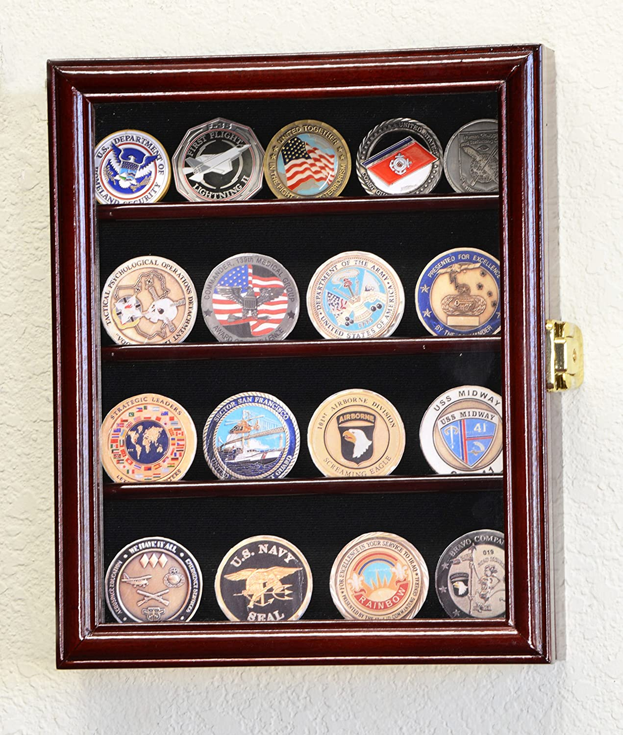Special price for a limited time XS Military Challenge Coin Display shop Case Cabinet Rack Holder Box