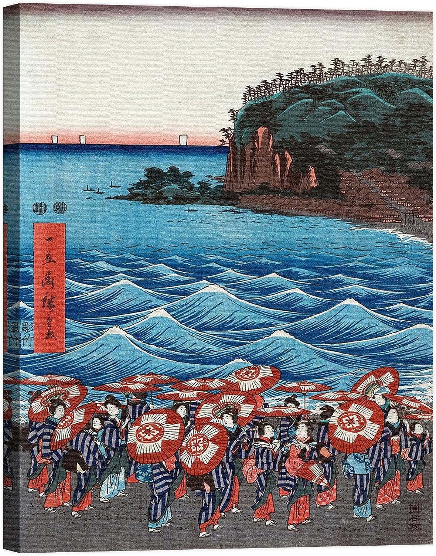 Rahmen Druck auf Leinwand mit mit mit Rahmen in Holz ando Hiroshige Opening Celebration of Benzaiten I 120x90 CM B07CJSFHLZ | Verschiedene Stile  57d957