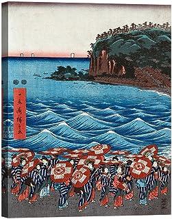 Rahmen Druck auf Leinwand mit Rahmen in Holz ando ando ando Hiroshige Opening Celebration of Benzaiten I 120x90 CM B07CJSFHLZ  Einfach zu bedienen 37c545