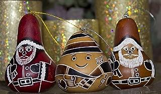 Three Gourd Santa Ornament Assortment Hand Carved Peru