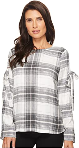 TWO by Vince Camuto - Long Sleeve Linearscape Plaid Blouse with Sleeve Ties