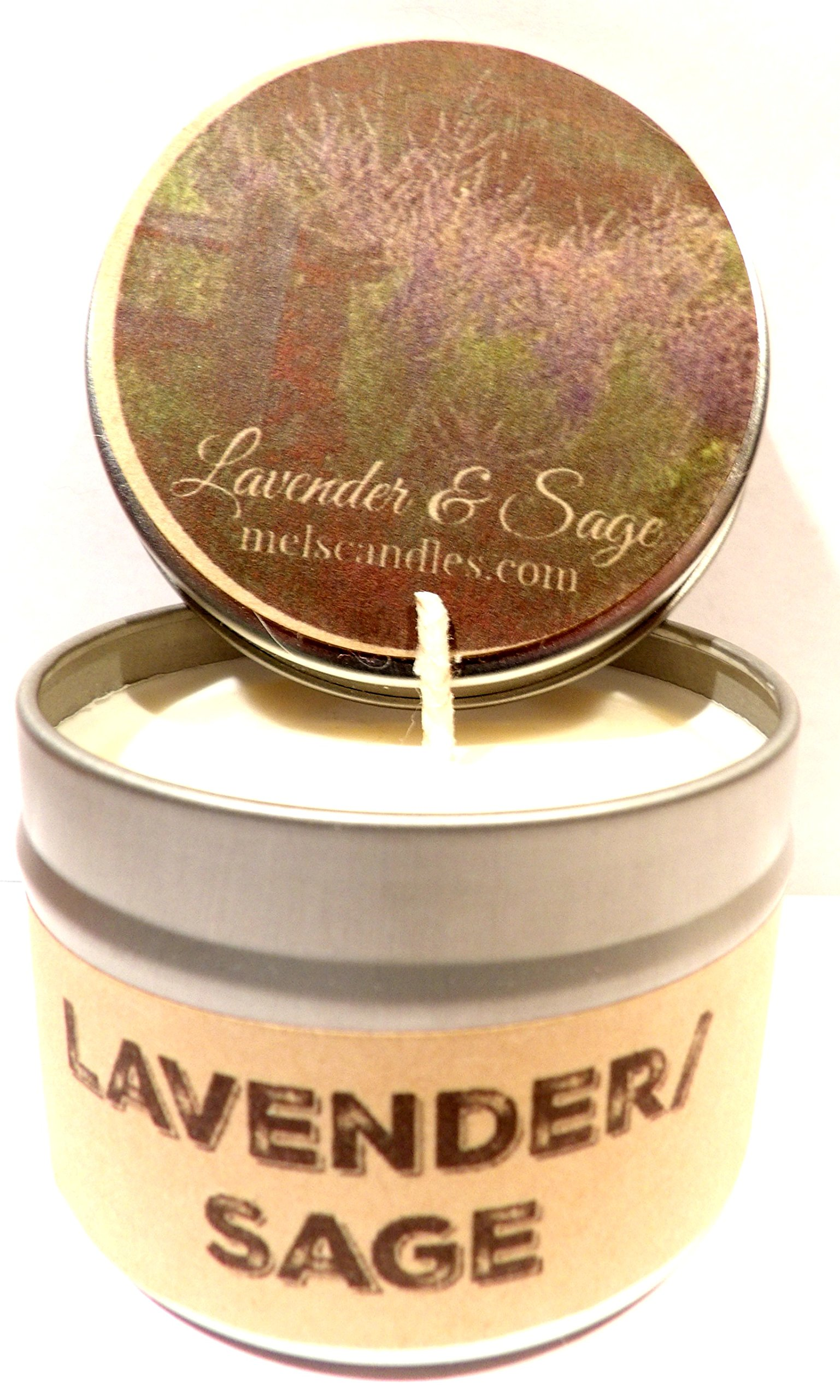 Lavender And Sage Scented 4 oz Soy Candle Handmade All Natural smells AMAZING!