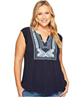 Lucky Brand - Plus Size Embroidered Bib Tank Top