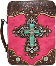 Western Style Bling Rhinestone Cross Country Women's Bible Cover Books Case Removable Strap Messenger Bag