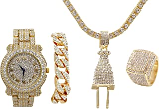 Bling Bling Plug Hip Hop Pendant - Iced Out Luxury Watch Covered with Crystal Clear Rhinestones - Gold Iced Cuban Bracelet and Bling Ring Gift Set - Shine Like a Celebrity - L0504Gld4