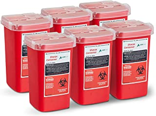 AdirMed Sharps & Needle Biohazard Disposal Container 1 Quart - 6 Pack