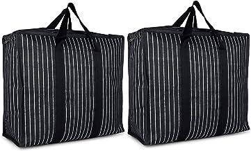 sanjis enterprises Canvas Shopping Storage Organizers (Set of 2) (Black_SEBIGBAG)