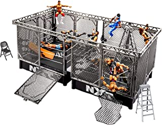 WWE NXT Takeover War Games Playset with 2 NXT Rings, 2 Connecting Cages with Breakaway Pieces, 2 Ladders, Chair, Table & M...