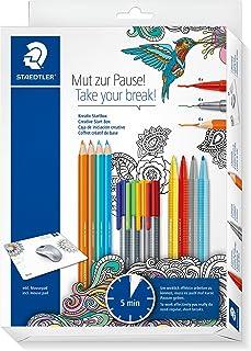 Staedtler Take Your Break - Set Créatif 4 Crayons De Couleur Ergosoft 157 + 4 Feutres Triplus Fineliner 334 + 4 Feutres De...