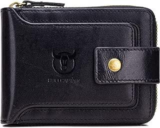Mens Genuine Leather Zipper Wallet RFID Blocking Bifold Zip Around Multi Credit Card Holder
