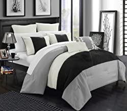 Chic Home 7 Piece Marbella New Linen Fabric Collection Comforter set, King, Silver
