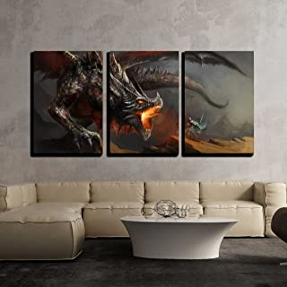 wall26 - 3 Piece Canvas Wall Art - Fantasy Scene Knight Fighting Dragon - Modern Home Decor Stretched and Framed Ready to Hang - 16