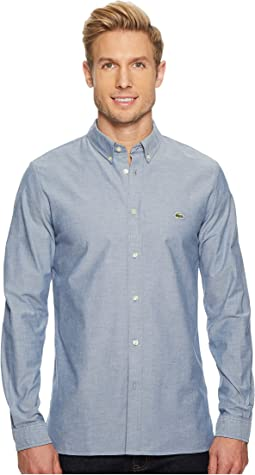Lacoste - Long Sleeve Solid Oxford Stretch Button Down Collar Slim