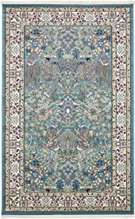 Nain Collection Persian Isfahan Design Traditional Area Rug (5' x 8' FT) Blue Living & Dinning room Décor