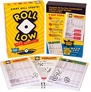 Roll-Low is 2 Roll and Write Dice Games That Use Strategy and Luck to Match Dice Combinations in The Fewest Rolls.