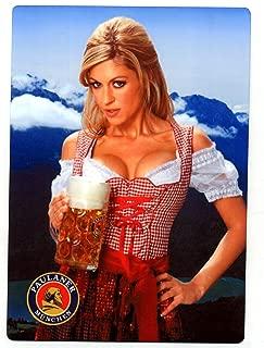 Paulaner Bier - Sexy Blonde German Girl METAL Beer Sign - Oktoberfest