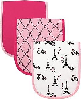 Luvable Friends Unisex Baby Cotton Burp Cloths with Fiber Filling, Paris, One Size