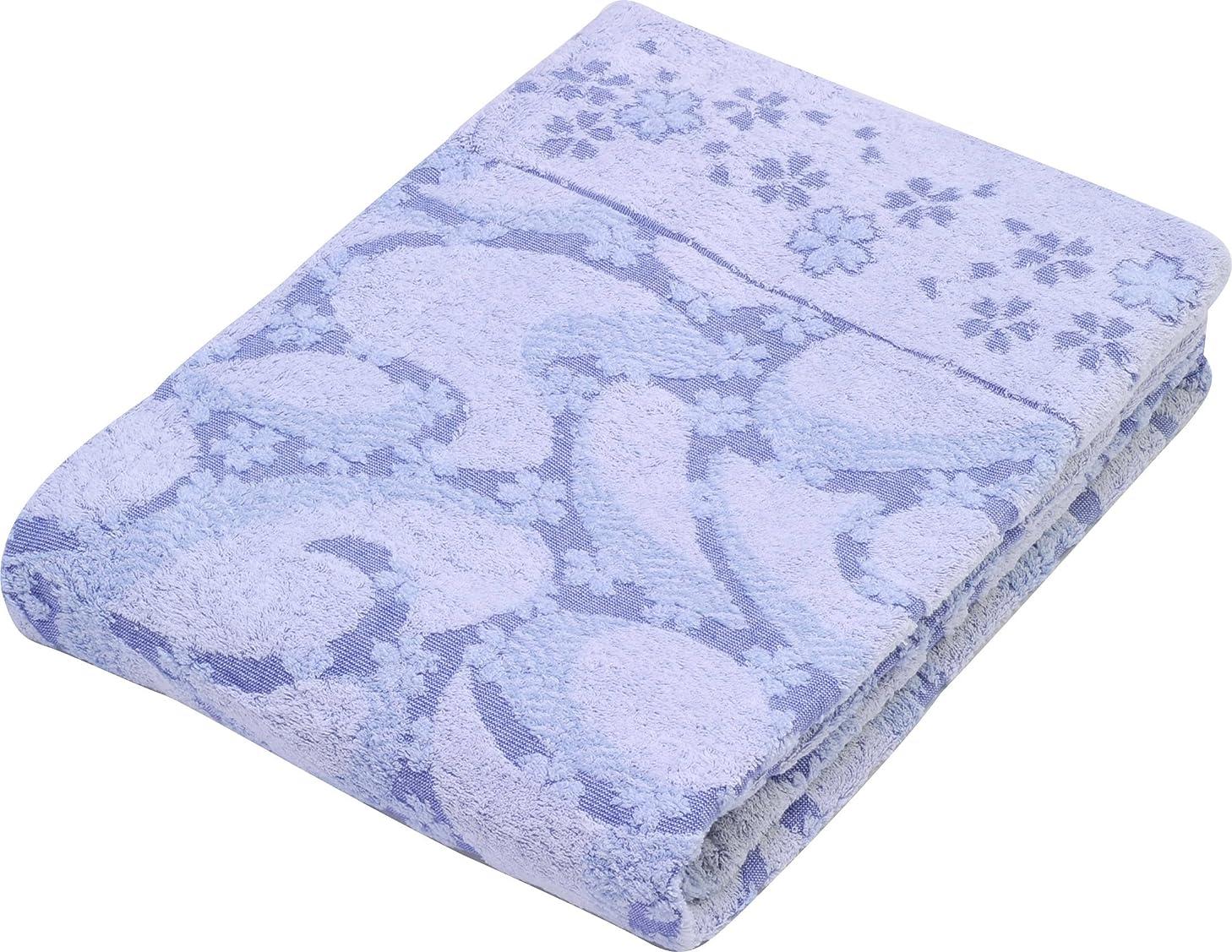 鏡姉妹在庫京都西川 今治 タオルケット 日本製 シングル 綿100% ジャカード織り 桜と流水柄 ブルー SM-8612