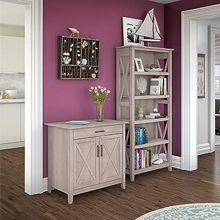 Bush Furniture Key West Secretary Desk With 5 Shelf Bookcase, Washed Gray