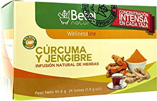 Turmeric and Ginger Tea (Te de Curcuma y Jengibre) by Betel Natural - Natural superfood Packed with curcumins - 24 Tea Bags