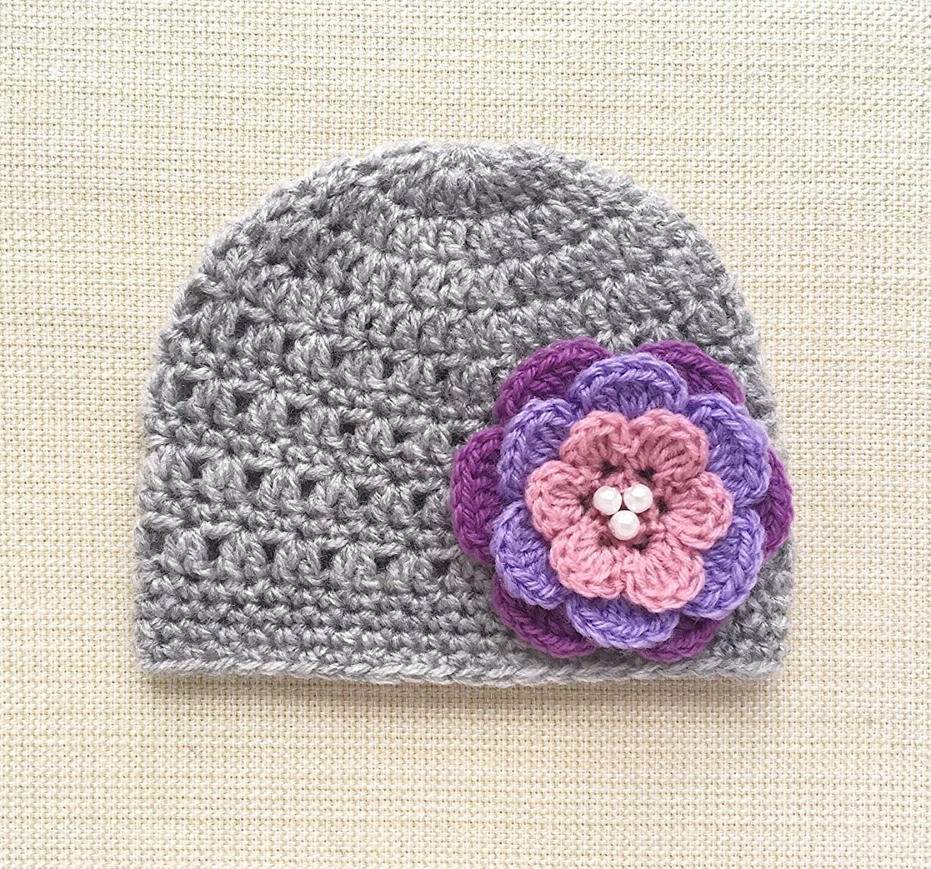 0-6 Months Crochet Baby Hats With Flower Cute New Born Beanies For Girls Newborn Photoshoot Props