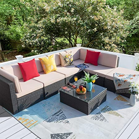 Homall 7 Pieces Patio Outdoor Furniture Sofa Set, All Weather PE Rattan Wicker Sectional Sets Modern Modular Couch Outside Conversation Set with Thick Cushions and Glass Coffee Table (Brown)