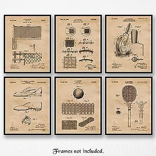 Original Tennis Patent Poster Prints, Set of 6 (8x10) Unframed Photos, Great Wall Art Decor Gifts Under 20 for Home, Office, Garage, Man Cave, Studio, Student, Teacher, Coach, ATP & WTA Fan
