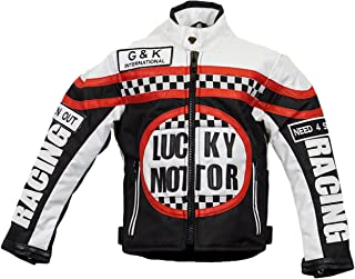 MDM Kinder Bikerjacke in schwarz/weiß, Motorradjacke, Racing Jacke