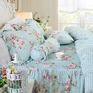 FADFAY Duvet Cover Set 4-Pieces Farmhouse Bedding with Bedskirt Shabby Blue Floral Hydrangea Print Bedspread Elegant French Country Style with Ruffle 4 Pcs Queen Size