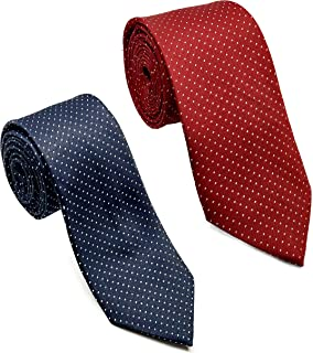 Luxeis Men Premium Neck Tie Combo (Maroon, Navy Blue; Free Size) (Pack of 2)