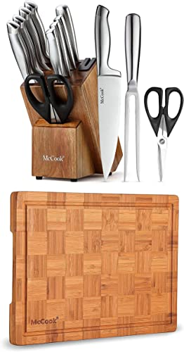 """high quality McCook MC35 German Stainless Steel Hollow Handle popular Self Sharpening Kitchen sale Knife Set + MCW12 Bamboo Cutting Board (Small, 14""""x10""""x0.8"""") outlet online sale"""