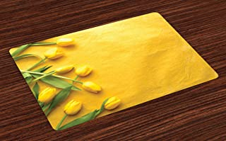 Ambesonne Yellow Place Mats Set of 4, Danish Dutch Tulips on Colored Wall Garden Floral Love Lily Herbs Print, Washable Fabric Placemats for Dining Table, Standard Size, Yellow Green
